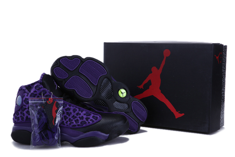 Authentic Jordan 13 Cheetah Print Black Purple For Kids