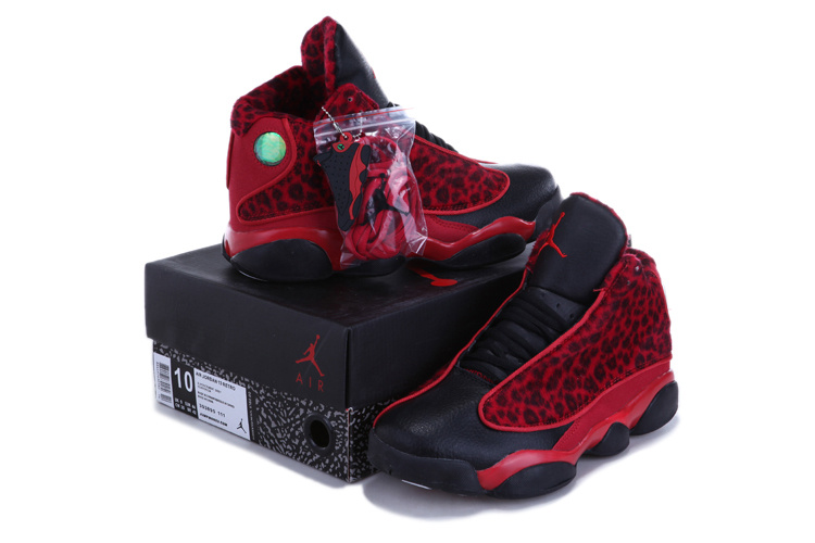 Authentic Jordan 13 Cheetah Print Black Red For Kids