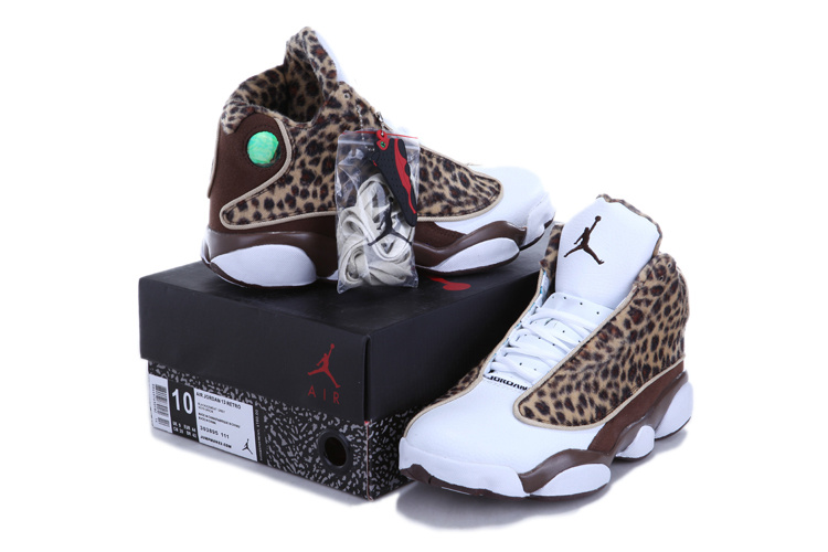 Authentic Jordan 13 Cheetah Print White Coffe For Kids