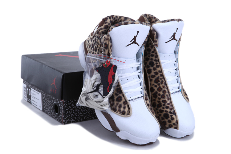 2013 Popular Air Jordan 13 Cheetah Print White Coffe