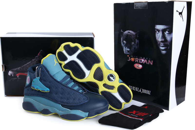 Authentic Air Jordan 13 Blue Yellow with Hardback Package