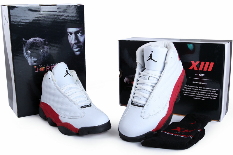Authentic Air Jordan 13 White Red Black with Hardback Package