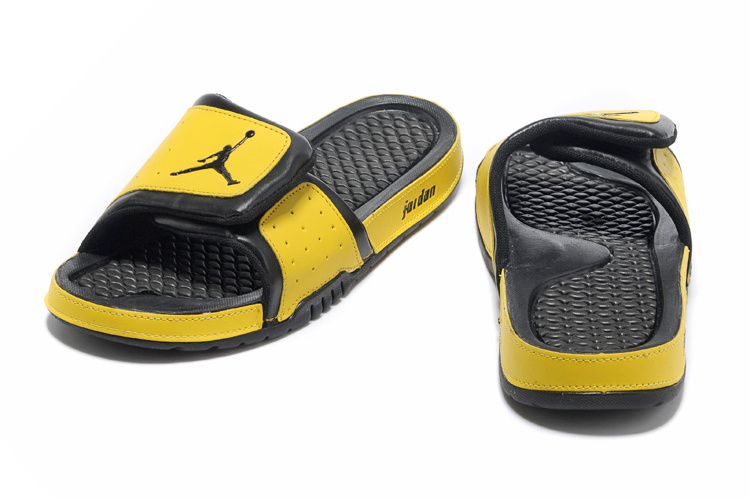 Comfortable And Cool 2013 Jordan Hydro 2 Black Yellow Slipper