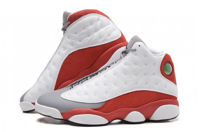 2014 Air Jordan 13 Retro Grey Toe White Black True Red Cement Grey Shoes