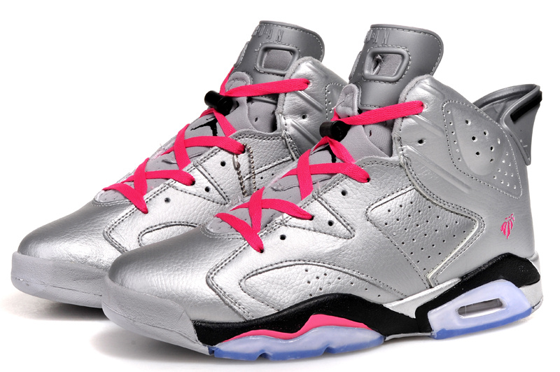 2014 Cheap Air Jordan 6 Retro Valentines Day Metallic Silver Vivid Pink Black Shoes