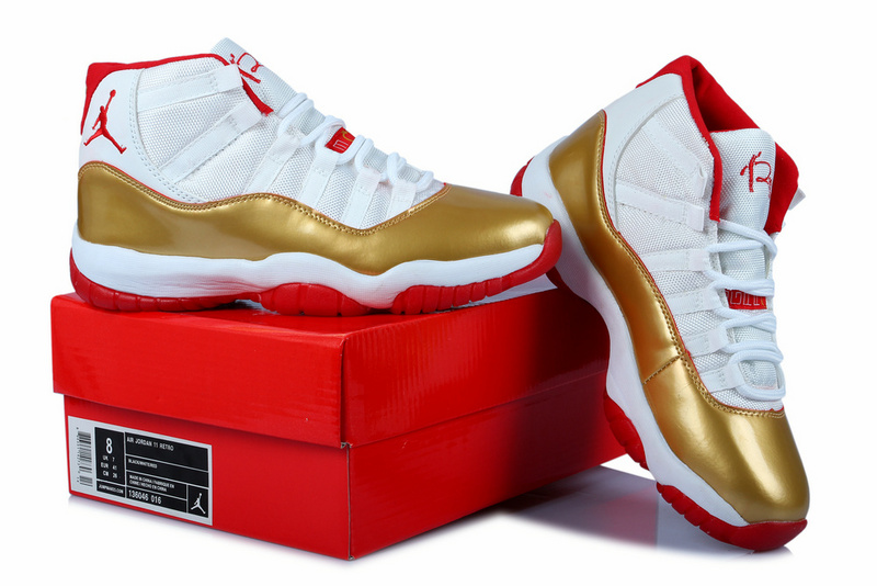 2014 Jordan 11 Retro Ray Allen White Gold Red