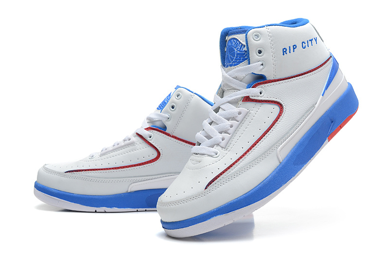 2014 Jordan 2 Retro White Blue Red Shoes