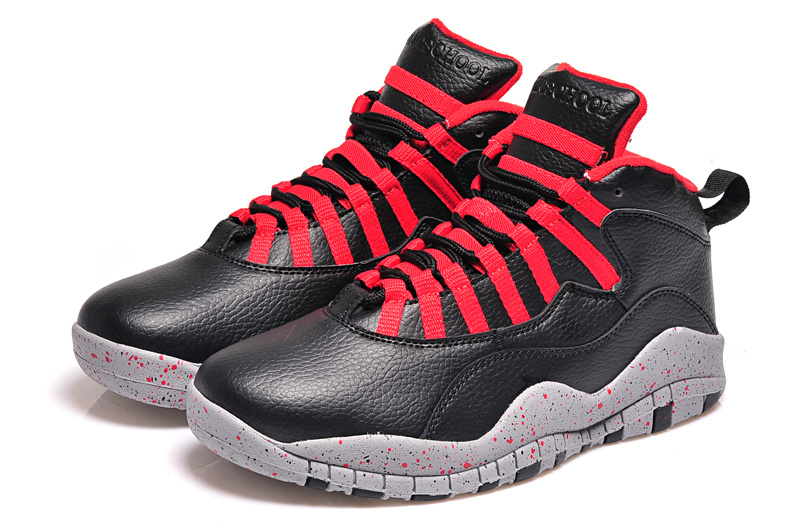 2015 Cheap Real Air Jordan 10 Retro Black Red Shoes