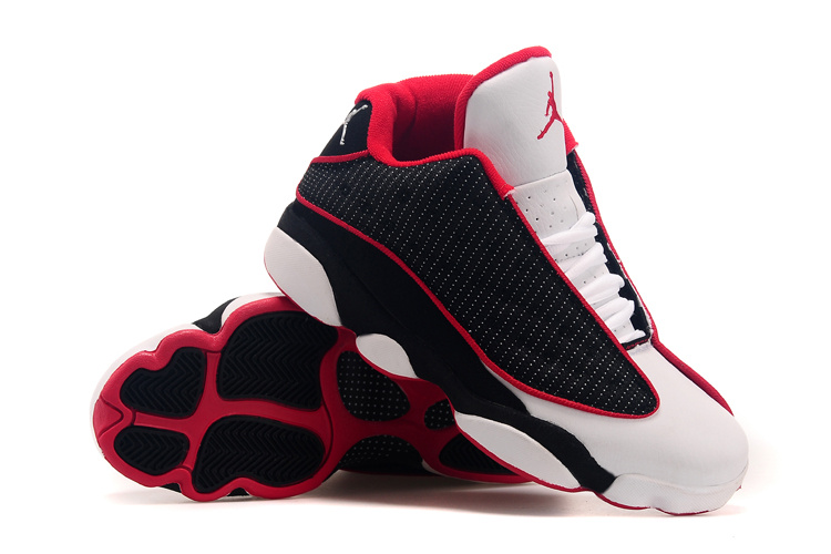2015 Air Jordan 13 Low Leather Black White Red Shoes