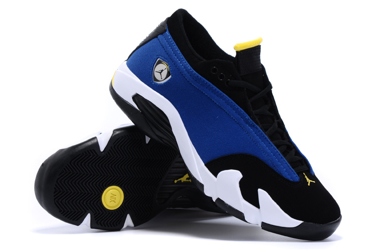2015 Real Air Jordan 14 Low Shoes Blue Black White