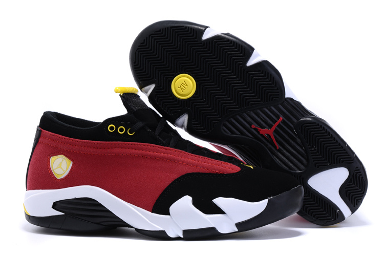 2015 Real Air Jordan 14 Low Shoes Red Black White Yellow