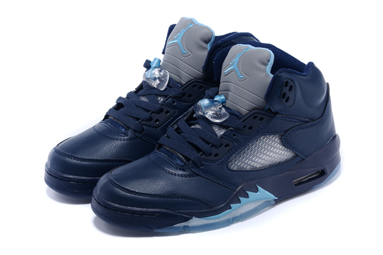 2015 Air Jordan 5 Hornets Midnight Navy Turquoise Blue White Shoes