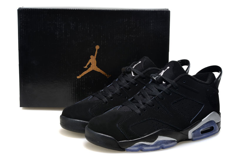 2015 Air Jordan 6 Low Black Metallic Silver Shoes