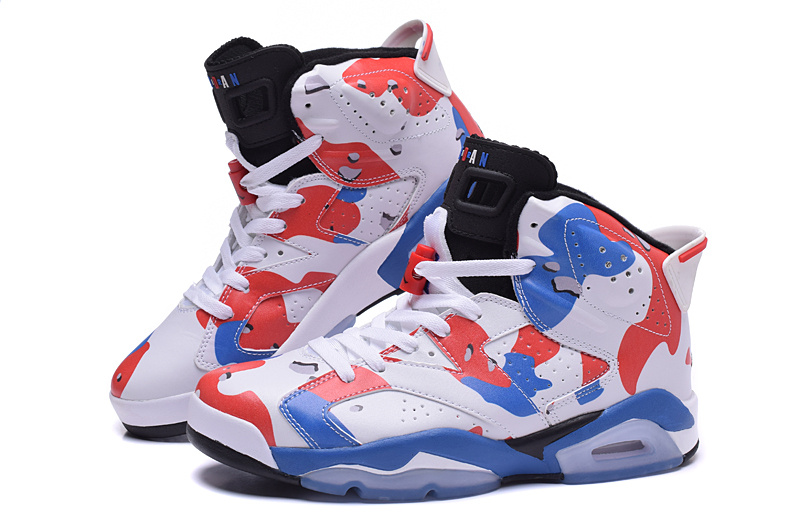 2015 Cheap Real Air Jordan 6 Lover White Red Blue Shoes