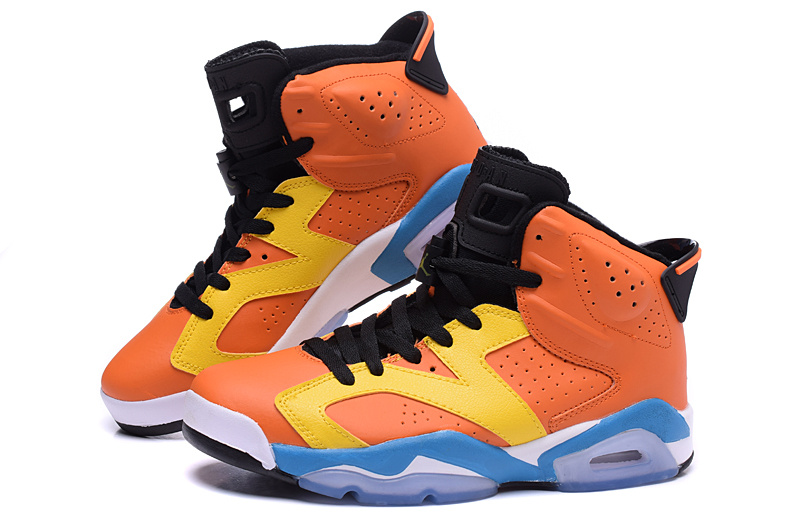 2015 Cheap Real Air Jordan 6 OG Orange Yellow Blue Shoes