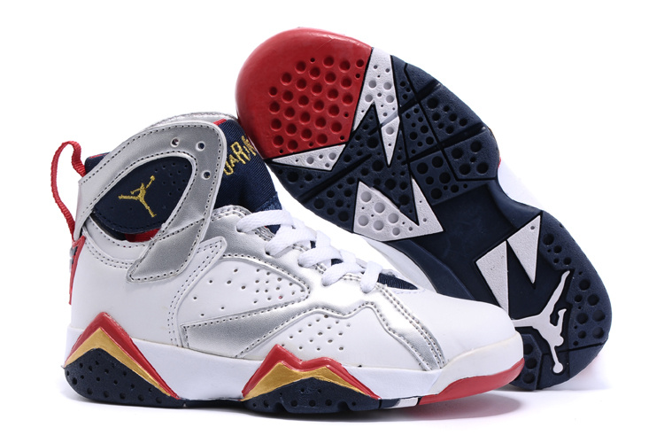 2015 Real Air Jordan 7 Retro White Silver Red Black Kids Shoes