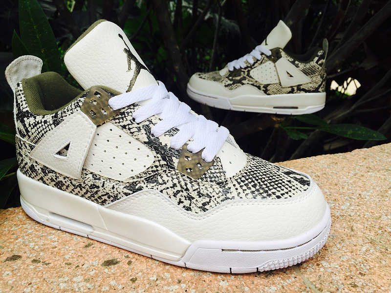 2015 Real Air Jordan 4 SnakeSkin Shoes White Army Green