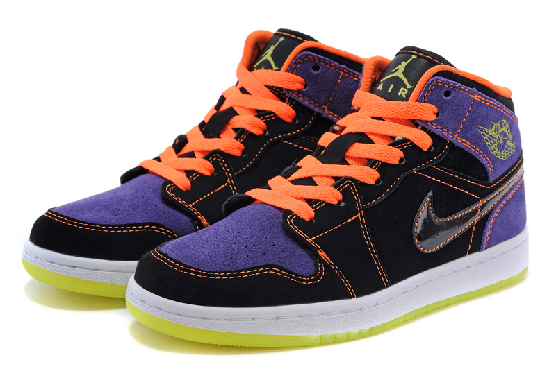 best cheap eacd2 ca84e ... air jordan retro 1 purple orange ... ... Nike Air Jordan 1 Retro 93  Mens Shoes Black Green ...