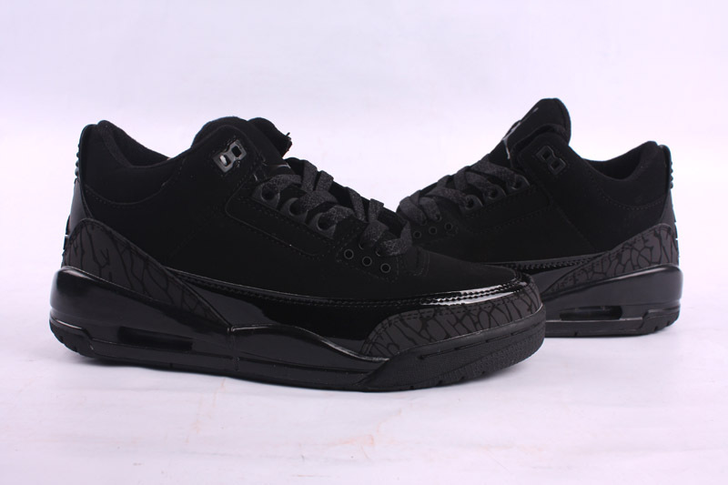 2015 Cheap Real Air Jordan 3 Retro All Black Lover Shoes