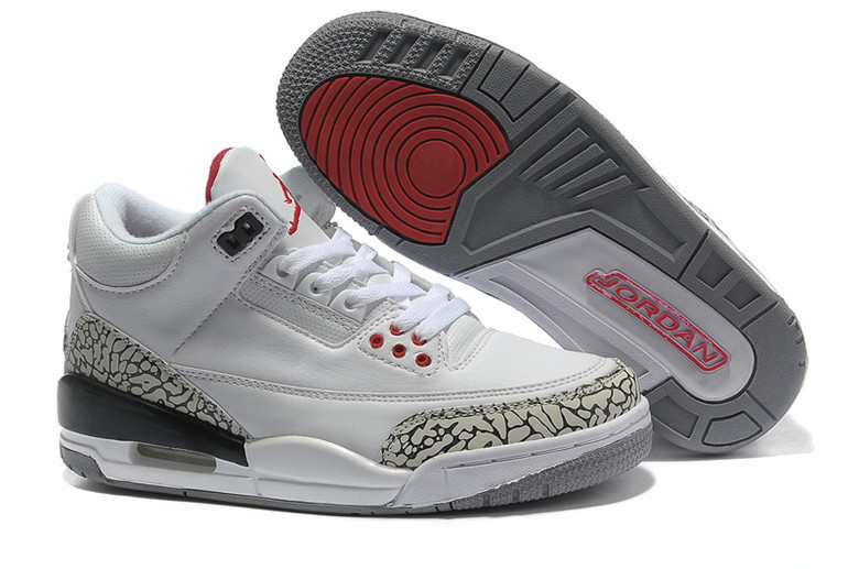 2015 Air Jordan 3 Retro White Cement Grey Red Lover Shoes