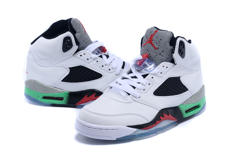 2015 Cheap Real Air Jordan 5 Retro White Black Red Green Shoes