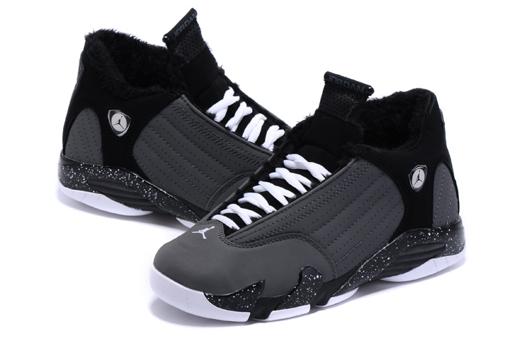 2015 Real Air Jordan 14 Shoes Wool Black Grey