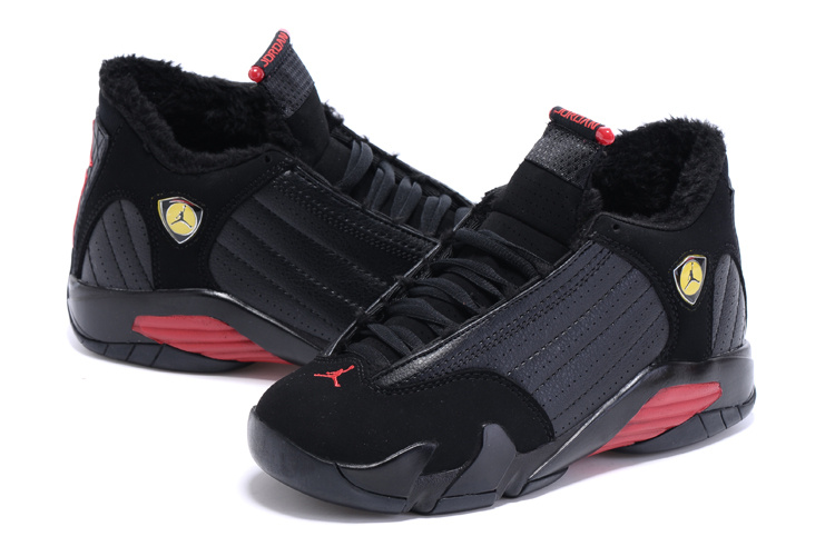 2015 Real Air Jordan 14 Shoes Wool Black Red