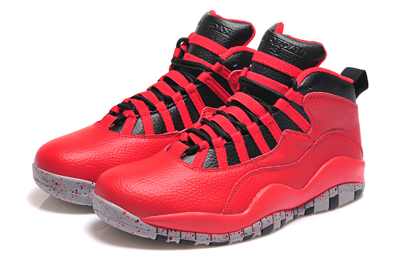 2015 Cheap Real Air Jordan 10 Retro Red Black Shoes