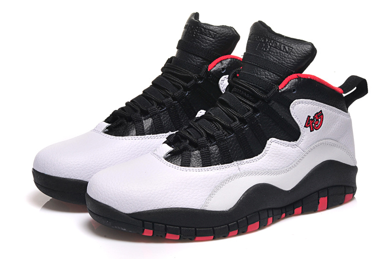 2015 Cheap Real Air Jordan 10 Retro White Black Red Shoes