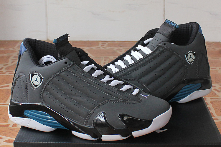 2015 Cheap Real Air Jordan 14 Black Grey Blue Shoes