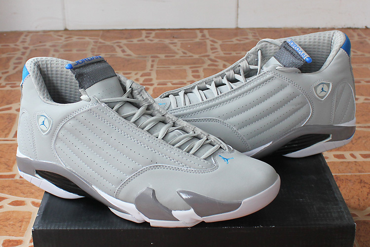 2015 Cheap Real Air Jordan 14 White Grey Shoes