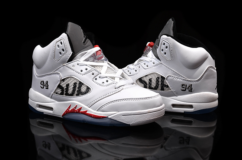 2015 Real Supreme Jordan 5 Shoes White Red