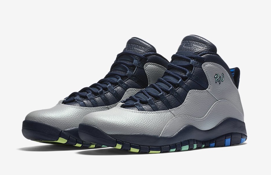 2016 Air Jordan 10 Rio Wolf Grey Photo Blue Obsidian Green Glow Shoes
