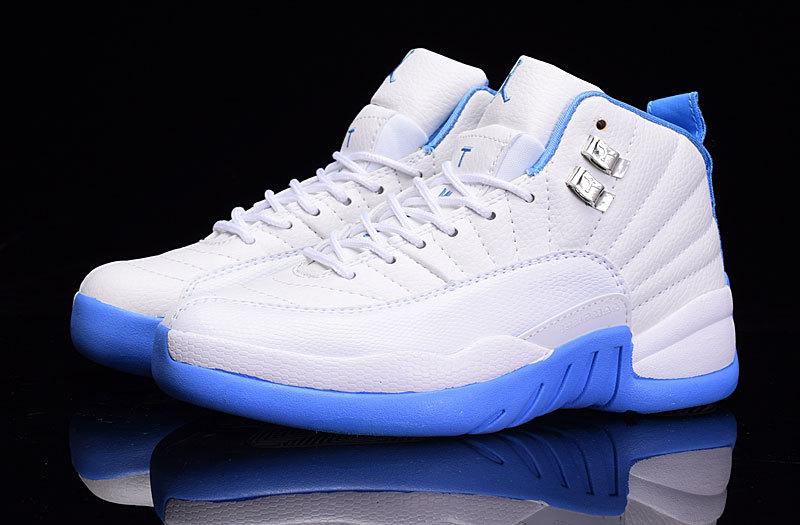 0d684ba7fe5c6d 2016 Air Jordan 12 GS Melo White University Blue Shoes  17NAJ446 ...