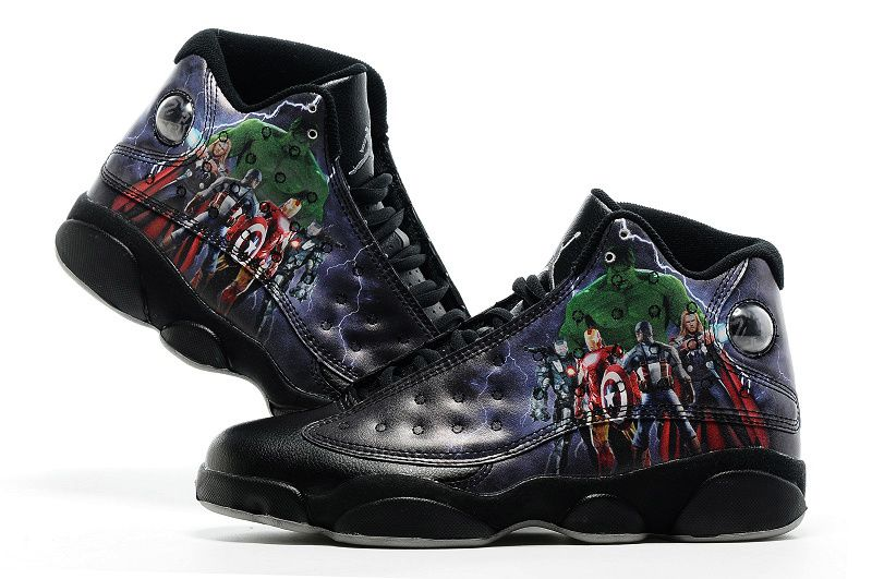 2016 Air Jordan 13 Avengers Custom Black Print Cheap Sale Shoes