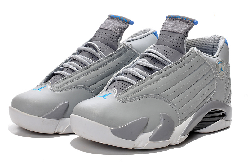 2016 Air Jordan 14 Wolf Grey White Sport Blue Shoes