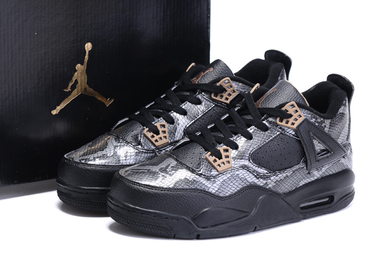 2016 Air Jordan 4 Black Snakeskin Black Grey Shoes