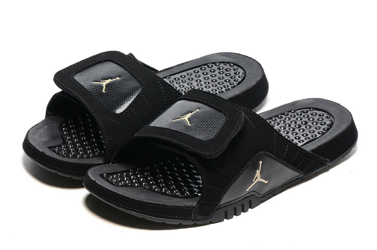 2016 Air Jordan Hydro 12 Slide Black Metallic Gold Star Black Sandals