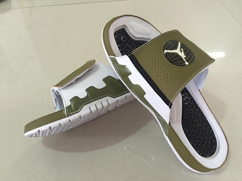 5f6a25e812fe35 2016 Mens Jordan Hydro 9 Slide Militia Green White Blck Sandals ...