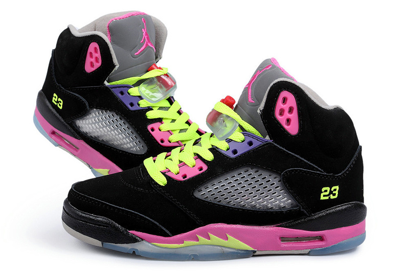 Ai Jordan 5 Black Fluorescent Green Peach Shoes For Women