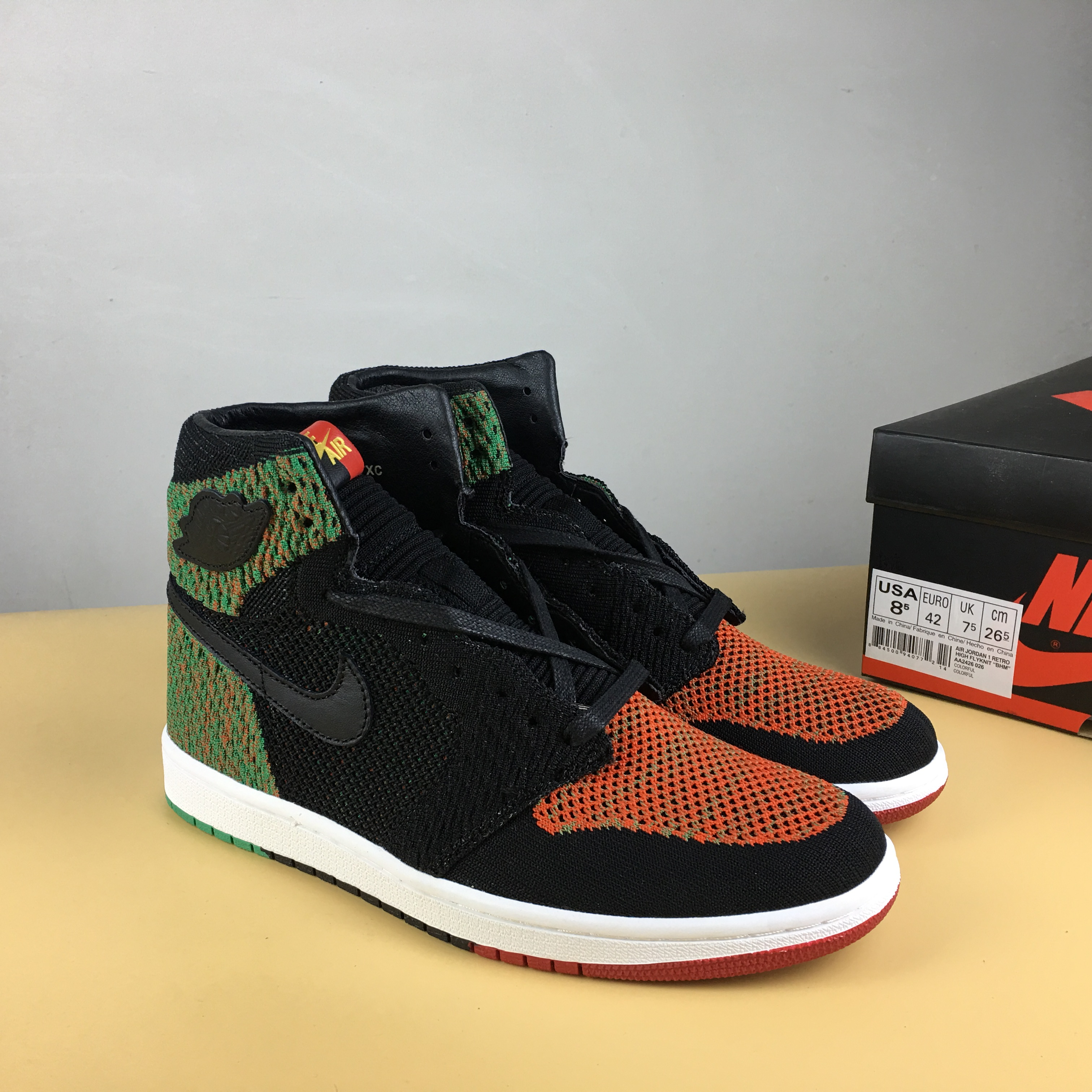 Air Jordan 1 Flyknit BHM Black Orange Green Shoes