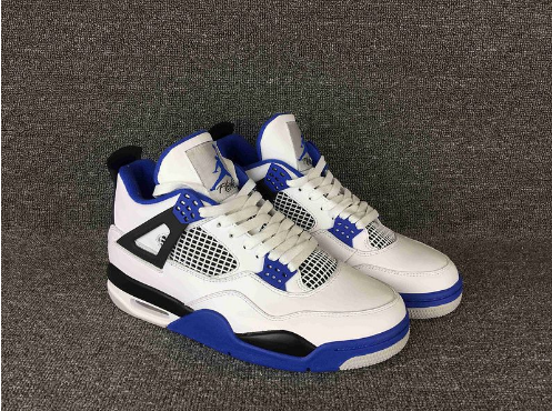 Cheap Jordan 4 Retro Motorsports White Varsity Blue-Black