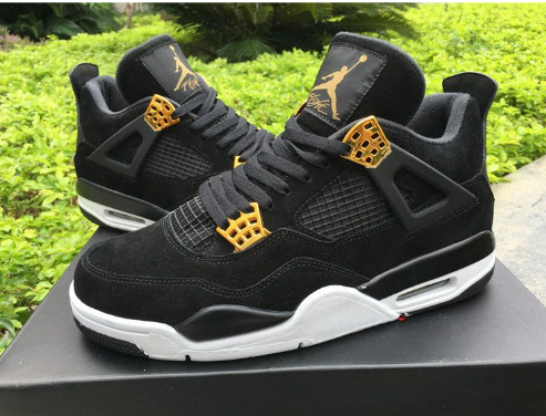 Cheap Jordan 4 Retro Royalty Black Metallic Gold-White