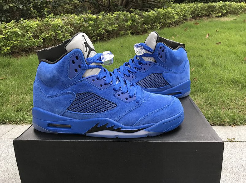 Cheap Jordan 5 Blue Suede Game Royal Black