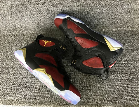 Cheap Jordan 7 DB Doernbecher Black University Red-Metallic Gold