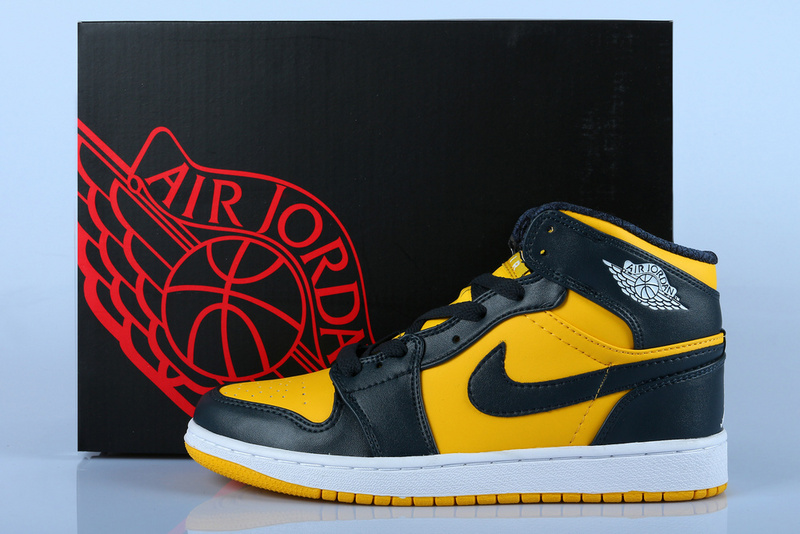 Air Jordan 1 Black Yellow With Air Cushion