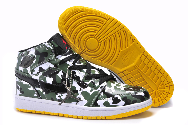 Air Jordan 1 Camouflage White Yellow Shoes