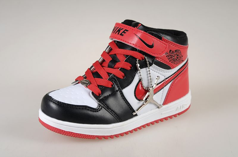 2013 Jordan 1 Hardback Black White Red For Kids