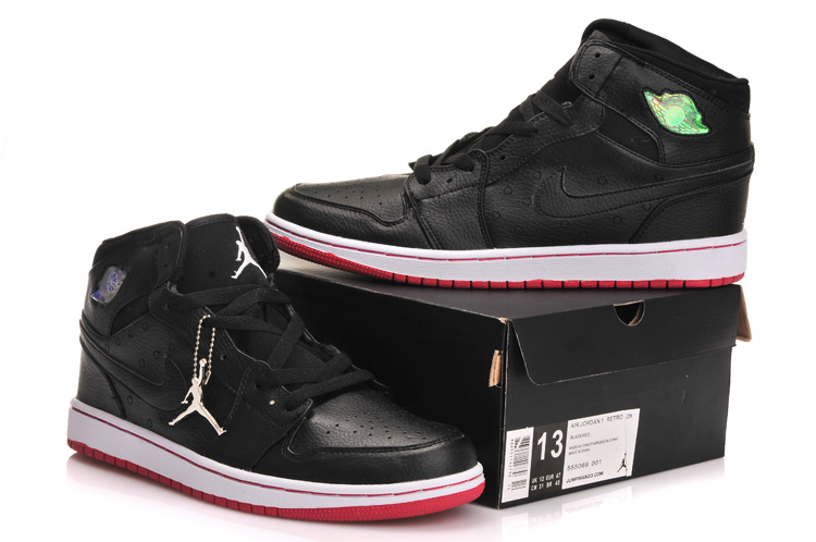 New Jordan 1 Retro Black White Red Shoes With Inserted Cushion