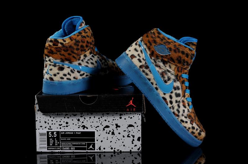 best service 8224a 78b64 Trendy Women s Air Jordan 1 Cheetah Print Blue
